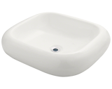 "Porcelain Vessel Sink, 21 7/8"", Rectangular, Polaris, P011"
