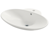 "Porcelain Vessel Sink, 24 5/8"", Oval, Polaris, P062"