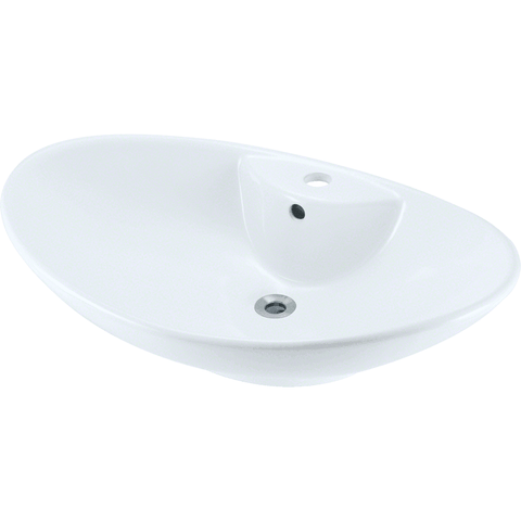 "Polaris 25 5/8"" Porcelain Oval Bathroom Vessel Sink - White P2012VW"