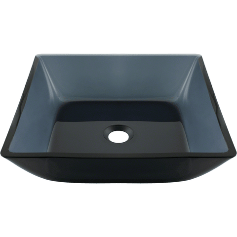 "Polaris 15 3/4"" Painted Glass Square Bathroom Vessel Sink - Black P036"