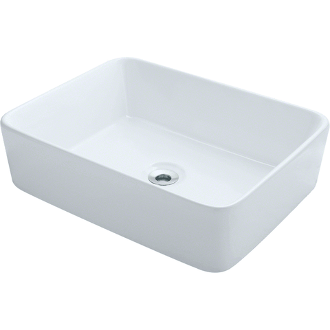 "Polaris 18 1/8""  Porcelain Rectangular Bathroom Vessel Sink - White P041VW"