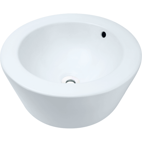 "Polaris 18"" Porcelain Round Bathroom Vessel Sink - White P2091VW"