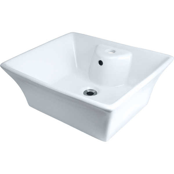 "Polaris 19 3/4""  Porcelain Rectangular Bathroom Vessel Sink - White P051VW"
