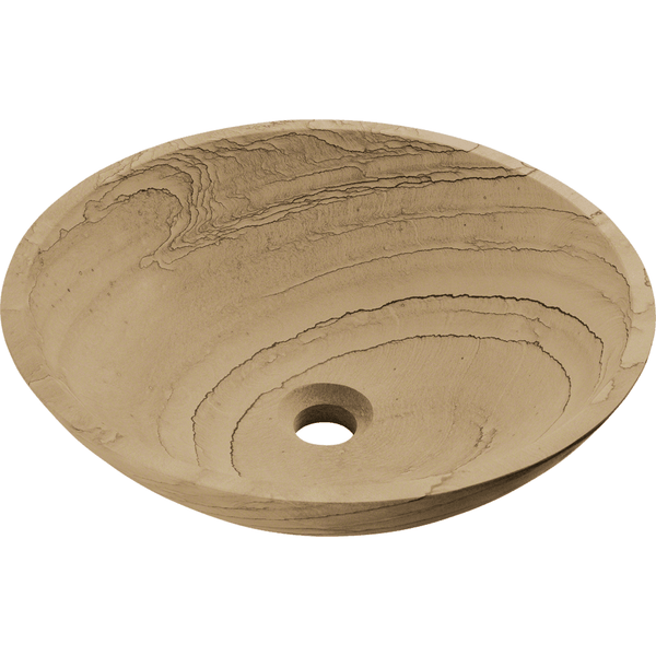 "Polaris 16 1/2"" Wood Sandstone Round Bathroom Vessel Sink P258"