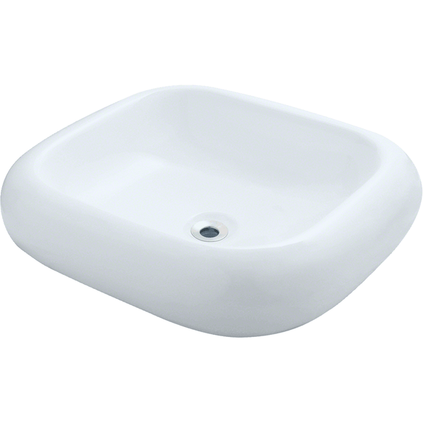 "Polaris 21 7/8"" Pillow Top Porcelain Rectangular Bathroom Vessel Sink - White P011VW"