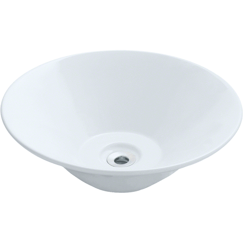 "Polaris 16 1/2"" Porcelain Round Bathroom Vessel Sink - White P022VW"
