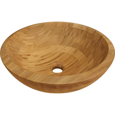 "Polaris 16 1/2"" Bamboo Round Bathroom Vessel Sink P098"