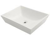 "Porcelain Vessel Sink, 19 5/8"", Rectangular, Polaris, P073"