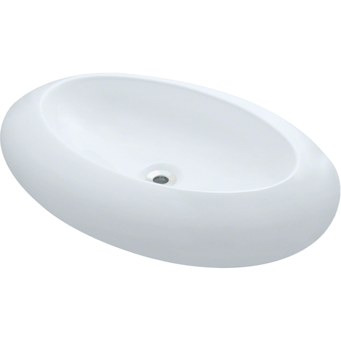"Polaris 25 3/4"" Porcelain Oval Bathroom Vessel Sink - White P08VW"