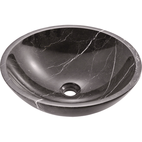 "Black Marble Vessel Sink, 16 1/2"", Round, Polaris, P158 - Showroom Sinks"