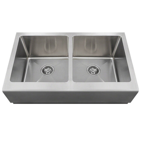 "Polaris 33"" Double Equal Bowl Stainless Steel Apron Sink P604"