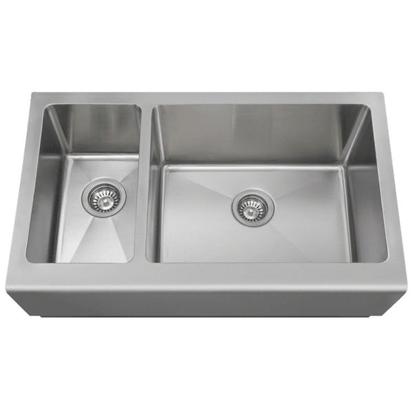 "Polaris 33"" Offset Double Bowl Stainless Steel Apron Sink PR704"