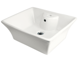 "Porcelain Vessel Sink, 19 3/4"", Rectangular, Polaris, P051"