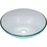 "Polaris 16 1/2"" Glass Round Bathroom Vessel Sink - Clear P106CR"