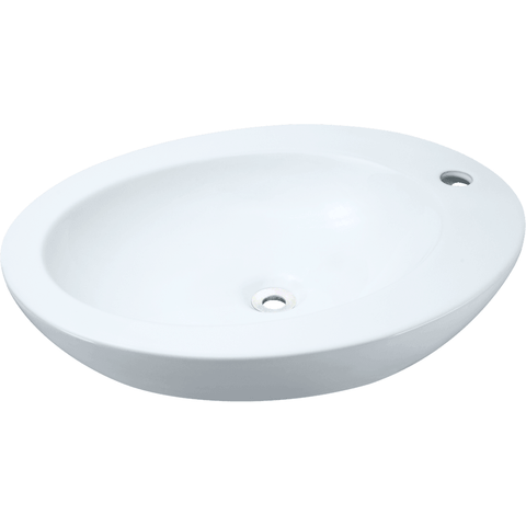 "Polaris 18"" Porcelain Oval Bathroom Vessel Sink - White P2023VW"