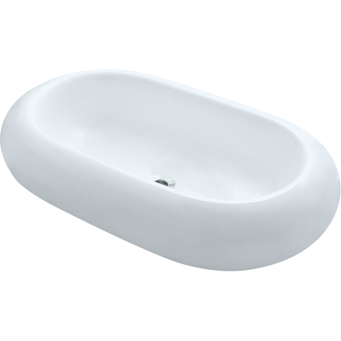 "Polaris 25"" Pillow Top Porcelain Oval Bathroom Vessel Sink - White P031VW"