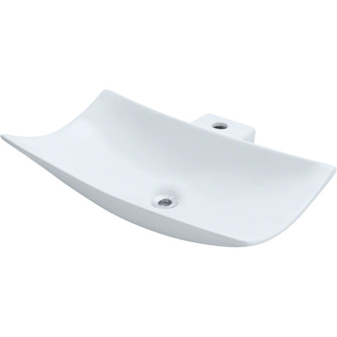 "Polaris 23 1/4"" Porcelain Rectangular Bathroom Vessel Sink - White P042VW"