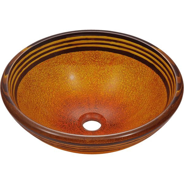 "Polaris 16 1/2"" Hand Painted Glass Round Bathroom Vessel Sink - Red and Orange P516"
