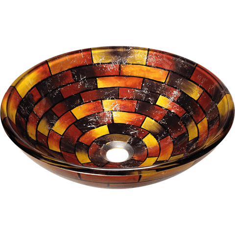 "Polaris 16 1/2"" Stained Glass Round Bathroom Vessel Sink - P126"