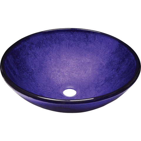 "Polaris 16 1/2"" Foil Undertone Glass Round Bathroom Vessel Sink - Purple P246"