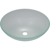 "Polaris 16 1/2"" Glass Round Bathroom Vessel Sink - Frosted P206"