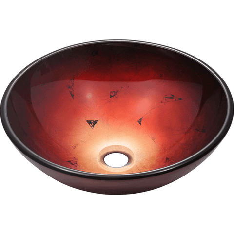 "Polaris 16 1/2"" Foil Undertone Glass Round Bathroom Vessel Sink - Red and Black P706"