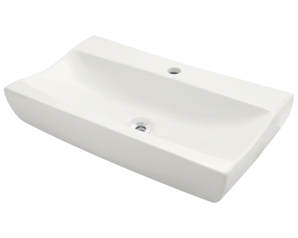 "Porcelain Vessel Sink, 25 1/4"", Rectangular, Polaris, P032"