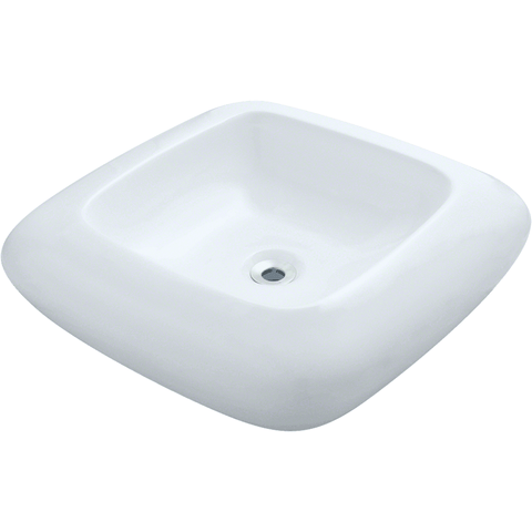"Polaris 20 1/8"" Pillow Top Porcelain Square Bathroom Vessel Sink - White P001VW"