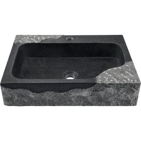 "Polaris 21 5/8"" Impala Black Granite Rectangular Bathroom Vessel Sink P568"