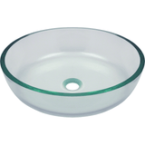 "Polaris 16 1/2"" Glass Round Bathroom Vessel Sink - Clear P526"