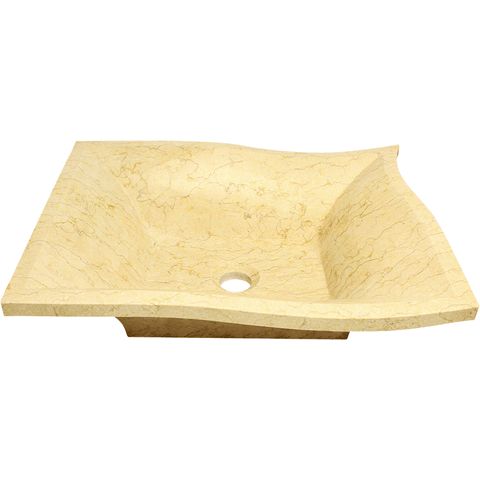 "Polaris 19 3/4"" Egyptian Yellow Marble Square Bathroom Vessel Sink P958"