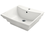 "Porcelain Vessel Sink, 19 7/8"", 3-Tiered Rectangular, Polaris, P061"