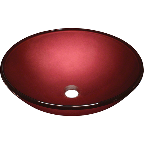 "Polaris 16 1/2"" Hand Painted Glass Round Bathroom Vessel Sink - Red P146"