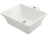 "Porcelain Vessel Sink, 18 3/4"", Rectangular, Polaris, P092"