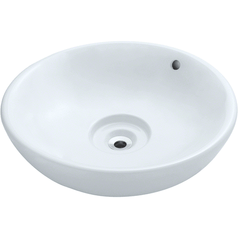 "Polaris 19 5/8"" Porcelain Round Bathroom Vessel Sink - White P043VW"