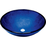 "Polaris 16 1/2"" Foil Undertone Round Glass Bathroom Vessel Sink - Blue P446"