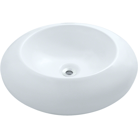 "Polaris 19 5/8"" Porcelain Round Bathroom Vessel Sink - White P09VW"