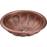 "Polaris 17"" Hammered Copper Oval Bathroom Vessel Sink P129"
