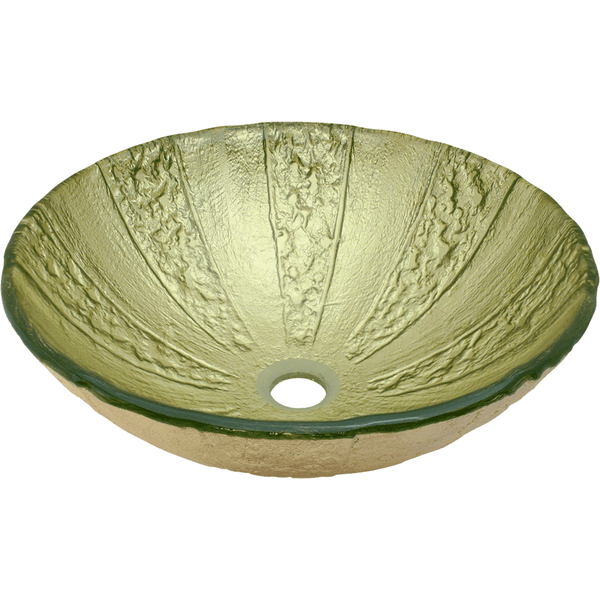 "Polaris 16 3/4"" Gold Foil Glass Round Bathroom Vessel Sink - Green and Gold P326"