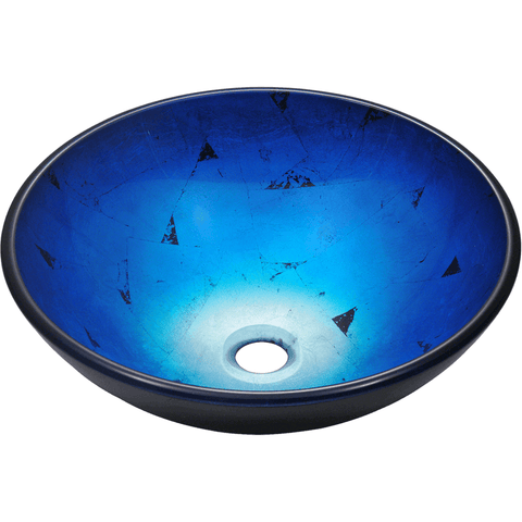 "Polaris 16 1/2"" Foil Undertone Glass Round Bathroom Vessel Sink - Blue and Black P806"