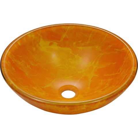 "Polaris 16 1/2"" Double Layer Glass Round Bathroom Vessel Sink - Hand Painted Orange P506"