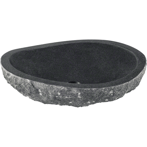 "Polaris 20 3/4"" Impala Black Granite Oval Bathroom Vessel Sink P668"