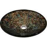 "Polaris 18"" Hand Painted Foil Undertone Glass Round Bathroom Vessel Sink P436"