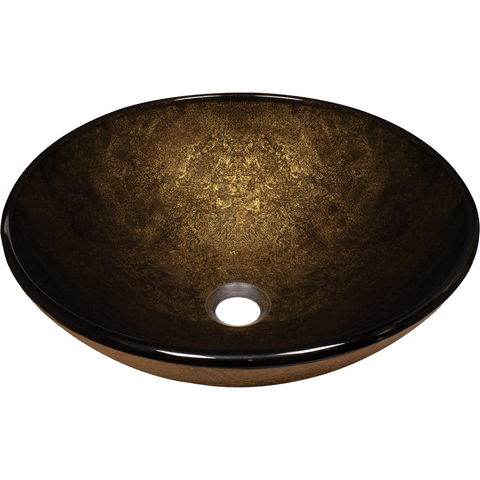"Polaris 16 1/2"" Foil Undertone Glass Round Bathroom Vessel Sink - Dark Bronze P736"