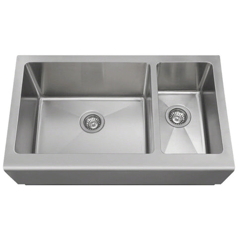 "Polaris 33"" Offset Double Bowl Stainless Steel Apron Sink PL704"
