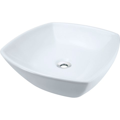 "Polaris 16 1/2"" Porcelain Rounded Square Bathroom Vessel Sink - White P2081VW"