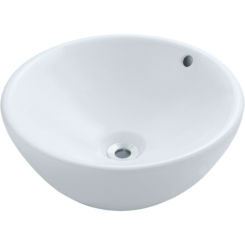 "Polaris 16 1/8"" Porcelain Round Bathroom Vessel Sink - White P0022VW"