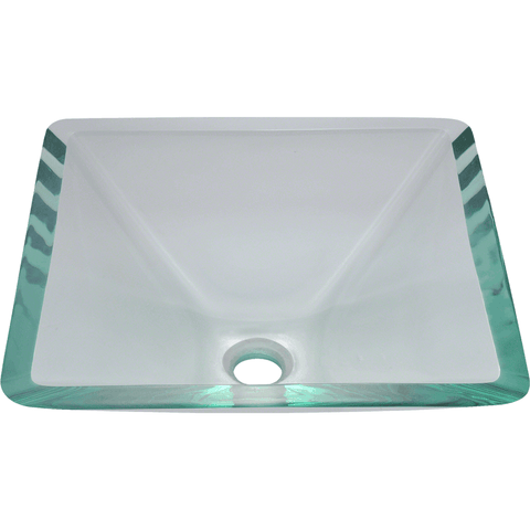 "Polaris 16 1/2"" Glass Square Bathroom Vessel Sink - Clear P306CR"