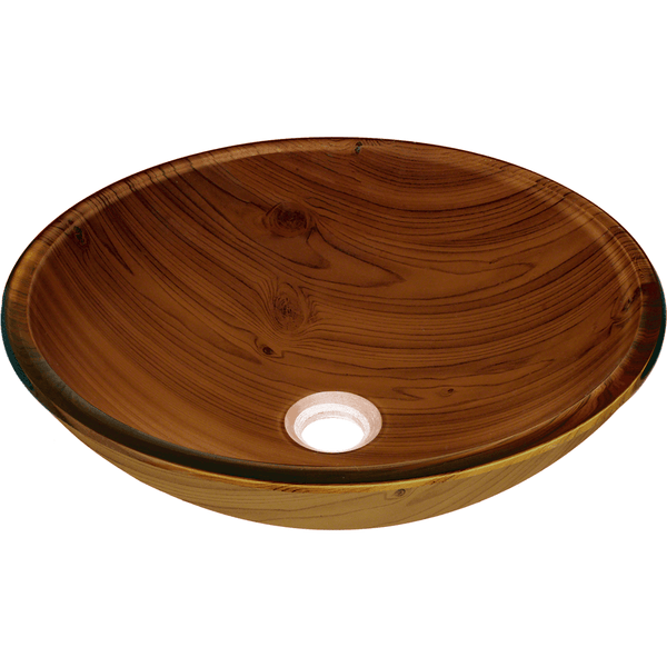 "Polaris 16 3/8"" Wood Grain Glass Round Bathroom Vessel Sink P826"