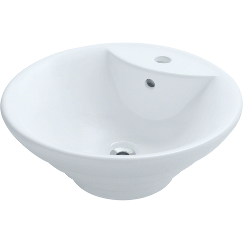 "Polaris 19 1/8"" Porcelain Round Bathroom Vessel Sink - White P002VW"